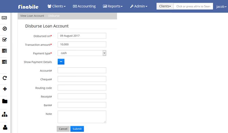 disburse loan account